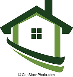 immobiliers, maison, image, vert, logo
