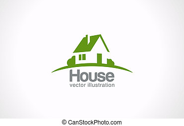 immobiliers, maison, résumé, countryside., realty, logo, icon.