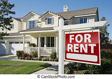 immobiliers, maison, signe, loyer, devant