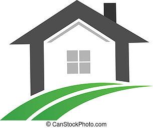 immobiliers, maison, swoosh, logo, route