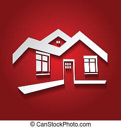 immobiliers, maison, symbole, moderne, silhouette, vecteur, realty, icône, logo, maison