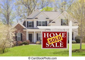 immobiliers, maison, vendu, signe vente, maison