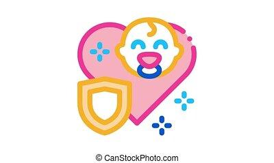 immunity, animation, protection, bébé, icône