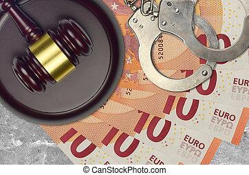 impôt, action éviter, procès, desk., marteau, tribunal, police, juge, judiciaire, euro, menottes, factures, concept, ou, 10, bribery.