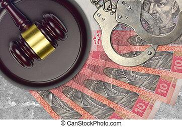 impôt, action éviter, procès, desk., marteau, tribunal, police, juge, ukrainien, judiciaire, menottes, factures, concept, hryvnias, ou, 10, bribery.