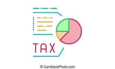 impôt, diagramme, icône, animation