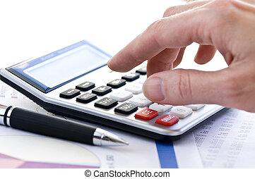 impôt, stylo, calculatrice
