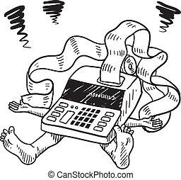 impôt, tension, financier, croquis