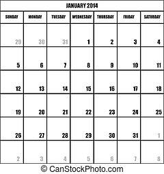 impact, janvier, calendrier, planificateur, 2014