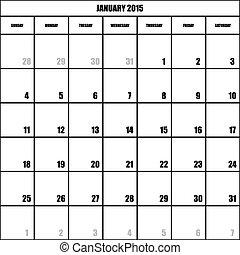 impact, planificateur, janvier, mois, fond, 2015, calendrier, transparent