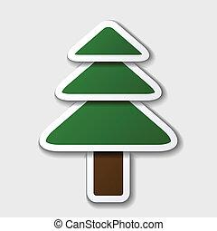 impeccable, symbole, papier, arbre, vecteur
