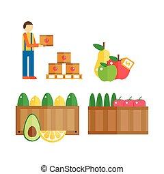 importation, exportation, illustration., fruits