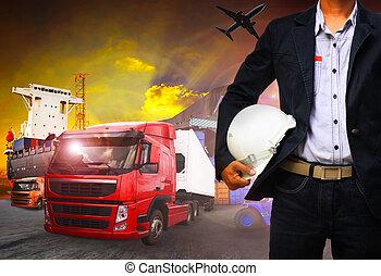 importation, fonctionnement, business, exportation, expédition, homme, fret, port, cargaison