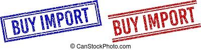 importation, lignes, achat, détresse, textured, double, timbres
