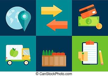 importation, vecteur, exportation, illustration., fruits