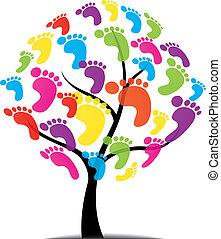 impression, arbre, vecteur, patte, pied