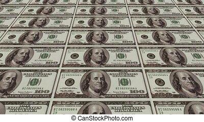 impression, argent, billets dollar, 100