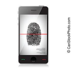 impression, balayage, smartphone, doigt, illustration