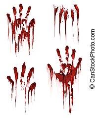 impression, blanc, sanglant, fond, main