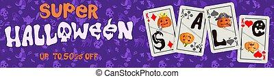impression, cartes, affiche, jouer, pourpre, halloween