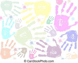 impression, coloré, fond, main