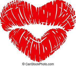 impression, forme coeur, lèvres, rouges