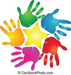 impression, logo, étoile, mains