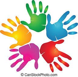 impression, logo, couleurs, vif, mains
