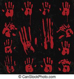 impression, main, 02, sanglant, ensemble, élément