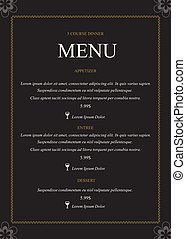 impression, menu, prêt, gabarit, restaurant