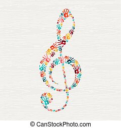 impression, musique, main, forme, humain, note, concept
