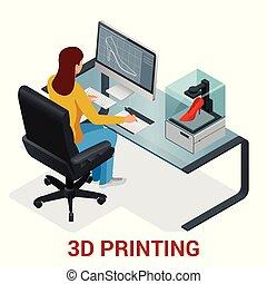 impression, printer., vecteur, ou, fille femme, jeune, modèle, 3d, école, isométrique, illustration, clothing., impression, développement