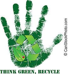 impression, recycler, main, icône