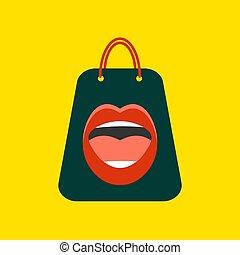 impression, sac, lèvres