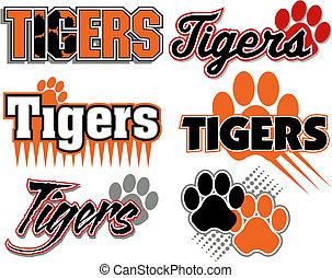 impression, tigres, conceptions, patte