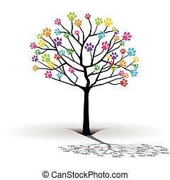 impression, tree-paw, silhouette