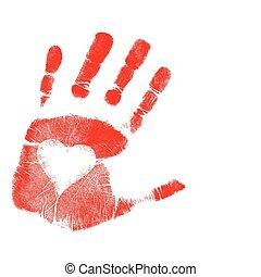 impression, vecteur, amour, /, main