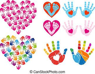 impression, vecteur, ensemble, cœurs, main