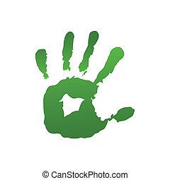 impression, vert, main