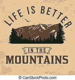 impression, vie, mieux, t-shirt, montagnes, typographie