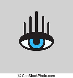 impression, yeux, cils, long