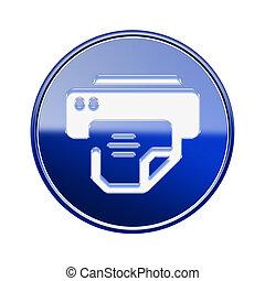 imprimante, bleu, isolé, lustré, fond, blanc, icône