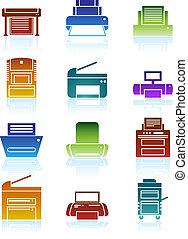 imprimante couleur, icônes