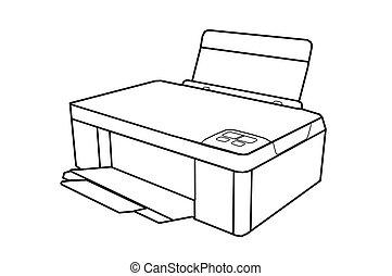 imprimante, dessin, seule pièce