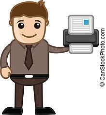 imprimante, -, dessins animés, business, vectors