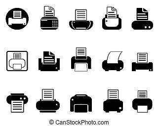 imprimante, ensemble, icônes