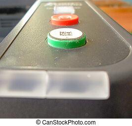 imprimante, fermé, boutons, virage, rouge vert
