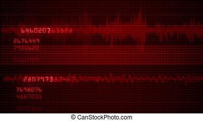 impulsion, séquence, e.c.g., moniteur, cardiaque, monde médical, 4k