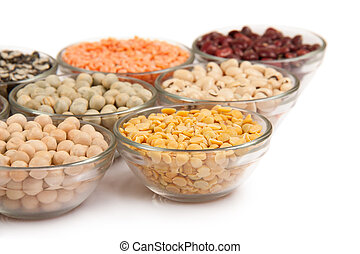 impulsions, haricots, grains