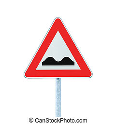 inégal, isolé, signe, poteau, blanc, route